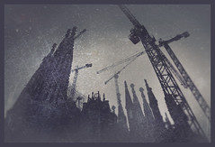a performance of timestream communities (panic-embryo) Tags: barcelona church topf25 dark construction topf50 eerie sagradafamilia topf100 towering