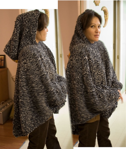 Free Crochet Pattern For Hooded Cape : Gallery For > Knitted Hooded Cape Pattern