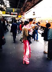 Harajuku girl with pink boots (5-2002) (TRUE 2 DEATH) Tags: railroad pink 2002 sexy station japan youth japanese tokyo uniform legs cosplay gothic shibuya lolita railcar harajuku latex  leopardprint nippon  kimono yoyogi  harajyuku japon railfan angst nihon trainplatform risque harajukugirls yoyogipark  gothiclolita risky  platformshoes  nihonjin     tky sukebe ikeya  newlight harajukustation  kosupure    peopleintokyo unseenjapan