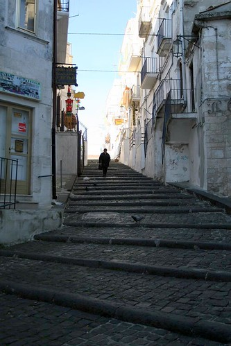 The stairs we drove down in Monte Sant'Angelo