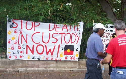 Stop Deaths in Custody Banner, Invasion Day Rally and March, Parliament House, George St, Brisbane, Queensland, Australia 070126