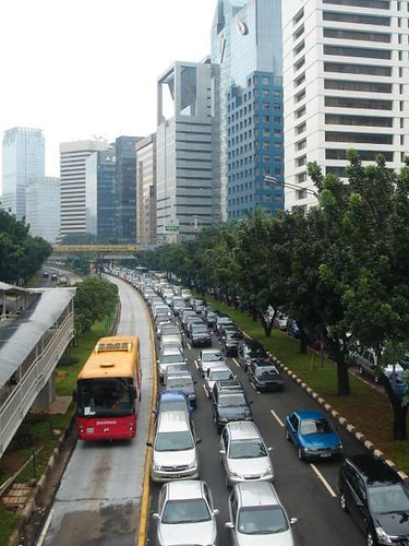 Traffic jam versus busway