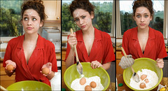 Eggs: Not just for breakfast anymore (AustinTX) Tags: red austin model glamour mess january kay cook explore 1950s d200 flour housewife reddress 2007
