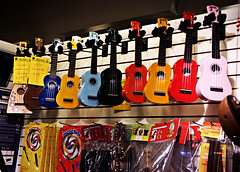 Rainbow Ukes (Friendly Joe) Tags: musicstore throughthewindow musicschool ukeleles seeninukelelewhores imadethatup