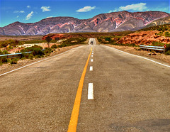 Roll on highway (Igor Alecsander) Tags: road viaje mountains texture argentina colors de landscape freedom highway desert roadtrip estrada viagem desierto cerros lejos hdr highdynamicrange humahuaca jujuy deserto motocicleta yellowline diarios quebrada rodovia ruta9 photomatix impressedbeauty