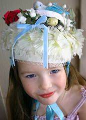 My Daughter wearing her Vintage Easter bonnet......... (fleamarketstudio) Tags: flowers hat collage vintage easter collageart crafty finds alteredart thrifty homelife shabbychic bonett