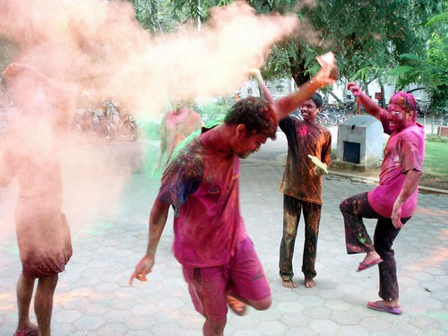 Dancing under paint, holi festival