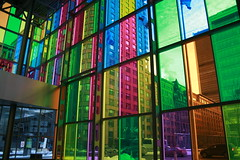 Palais des congres (Yviss) Tags: light red color window glass montreal des bleu palais multicolor congres bacllight