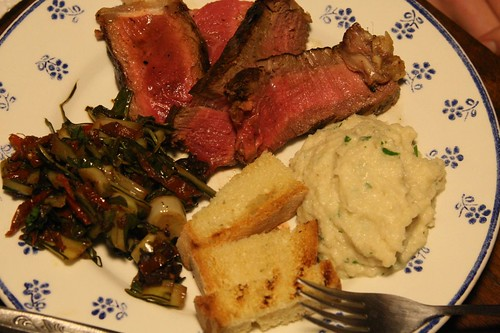 Bistecca with Sauteed Chicory and Pureed Cauliflower
