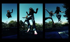 bounce - a triptych (s0ulsurfing) Tags: light sky 3 playing beautiful smile silhouette socks composition wonderful pose fun freedom three amazing energy triptych skies play action mosaic flight shapes trampoline excellent fabulous edie dynamism bounce bouncy