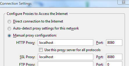 Set HTTP and SSL proxy settings in your browser