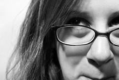 blackandwhite eye girl studio glasses eyes huntingtonuniversity dslr digitalslr 2007 phoach phoached dslra100 sonydslra100 march2007