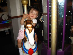 Ree loves the Chuck E Cheese merry-go-round