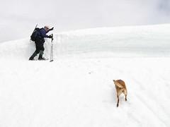 Jim inching along the shelf just below false summit