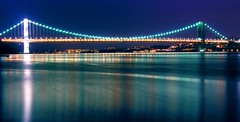 the reach (nj dodge) Tags: longexposure bridge topf25 water night lights 500v20f listeningto nj bridges crop hudsonriver edgewater gwb georgewashingtonbridge memorialpark rufuswainwright themasters jethrotull wantone deeparchives psuedopanorama ameetingspotheh