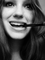 i like mac make up too (ladyinpink) Tags: blackandwhite selfportrait goofy happy mac makeup brush