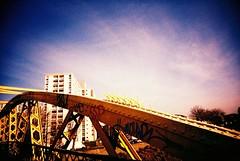 morning bridge (knautia) Tags: uk bridge england film 35mm bristol march xpro crossprocessed footbridge toycamera ishootfilm velvia redcliffe vivi vivitar avon towerblock 2007 riveravon 100iso langtonstreetbridge vivitarultrawideslim vivitarroll5