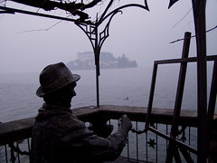 Painter's point of view. (Marcot77) Tags: sculpture rain island piemonte painter pioggia piedmont italians isola scultura cormoran orta pittore cormorano sangiulio visitpiedmont
