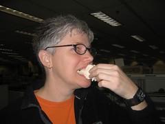 Vikki eats a gourmet peep