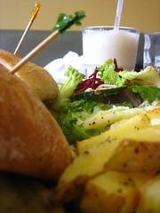 Mushroom sandwich, chips, salad and shake