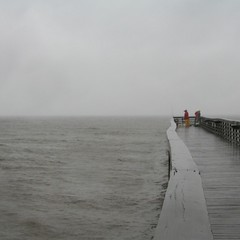 Foul weather fishing (Valerie Craig (Val Ann)) Tags: beach water rain evening pier newjersey nj monmouth gloom monmouthcounty middletown bayshore portmonmouth noreaster valann bayshorewaterfrontpark 123njpeople monmouthbayshore bayshorebchf valann422