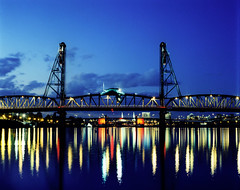 Hawthorne bridge (Zeb Andrews) Tags: blue color night oregon reflections portland twilight crossprocessed saturated dusk bridges rivers pacificnorthwest pentax67 kodakepp instantfave bluemooncamera zebandrews flickrphotoaward zebandrewsphotography