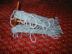 Loop yarn being blocked