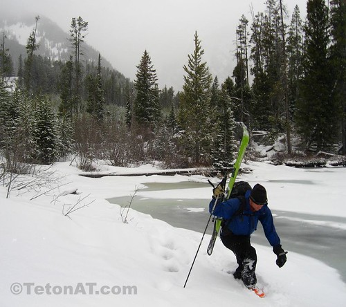 Brian hikes around Taggart Lake after losing a ski in a slough avalanche in Avalanche Canyon