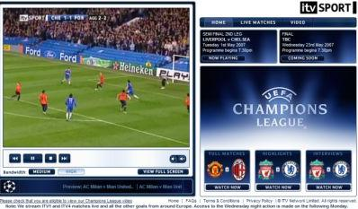 ITV Champions League on demand