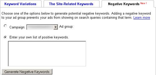 Google Keyword Tool - Negative KW Tab