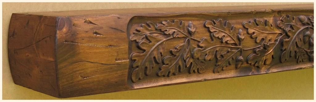 Mantles of Yesteryear Oak Leaf Carved Distressed Beam Mantle