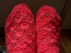 elfines1 (stupid clever) Tags: socks strawberry knitting yarn knits koolaid elfinesocks elfines