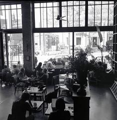 Bauhaus Cafe, Seattle, May 2005 (artandscience) Tags: rolleiflex 35f film kodak 320txp