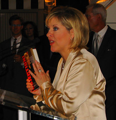 Nancy with the fruits of her labors (Vidiot) Tags: nyc book party bookparty nancy grace nancygrace objection