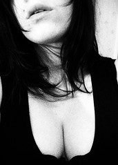 e. (mivella) Tags: bw selfportrait black me hair geotagged lips dot cleavage mivella flickys flickysselfportrait