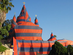 Holy Circus (Echo_29) Tags: church architecture losangeles circus guesswherela guessed geolat340779 geolon1182512 geotagged echopark incongruous termite fumigate stripes
