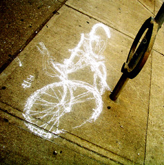 bike chalk outline