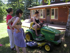 anne maggie heather tractor johndeere lawnmower cabin swimsuit ladies women wisconsin usa