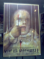 Vive les graphistes! (me vs gutenberg) Tags: germany berlin friedrichshain store window poster polish graphistes 2004