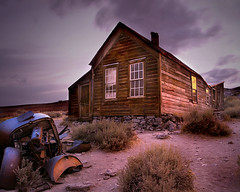 haunted house (Sara Heinrichs (awfulsara)) Tags: california sunset house abandoned car decay spooky tips ghosttown bodie topf150 thingsthatmoved tccomp012