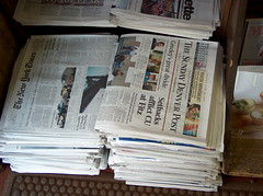 sunday papers (Princess Valium) Tags: sunday easysunday newspapers bookstore newsagent ny times denver post