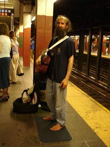 Shoeless guitarist