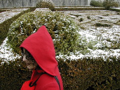 Little Red Riding Hood (Blue Dragonfly Girl) Tags: red portrait people espaa snow tag3 taggedout spain europa europe tag2 tag1 gente retrato escorial boxwoods interestingness244 i500