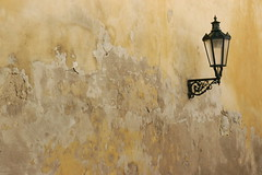 textured wall (jen clix) Tags: wall old texture lamppost streetlight prague czechrepublic praha