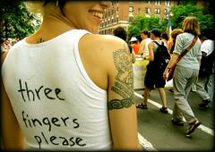 An invitation you can't refuse. (AnomalousNYC) Tags: show nyc newyorkcity summer portrait eastvillage topf25 face topv2222 outside topf50 topf75 day manhattan topv1111 lowereastside tshirt stranger topv3333 activist anomalous anomalousnyc showsam