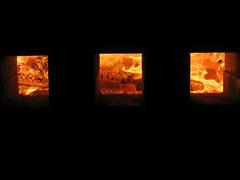 Pots roasting in a wood kiln