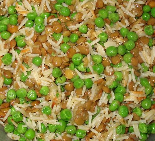 lentils, peas, rice