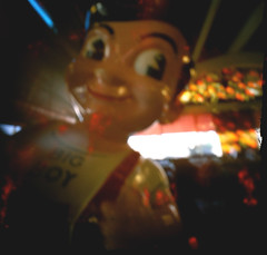 The perfect subject for an imperfect photo (unsure shot) Tags: square restaurant diy scary handmade bob icon pinhole terrifying bobsbigboy matchboxpinhole