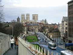 York Minster from city walls (Pablo York) Tags: york travel england europe roman britain yorkshire viking ouse jorvik engeland historie geschiedenis eboracum grootbritannie