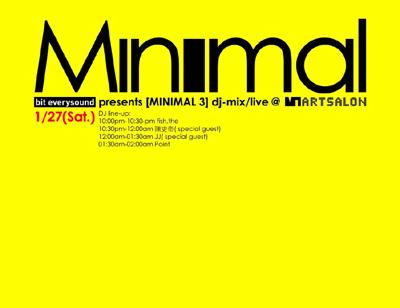 Minimal3 @VT Artsalon party flyer